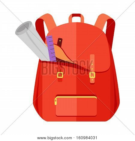 Rred backpack schoolbag icon in flat style. Hiking backpack. Kids backpack with notebook and ruler, education and study school, rucksack, urban backpack vector illustration on white background