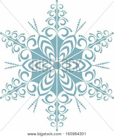 ne big blue Christmas snowflake. Vector illustration.