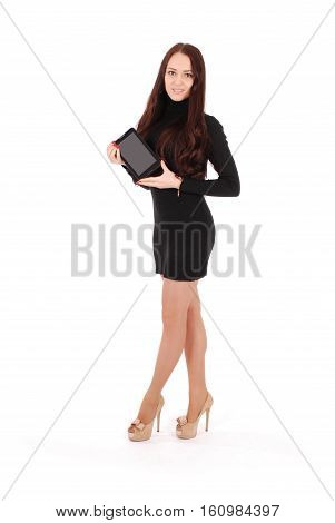 Smiling student teenage girl with tablet pc isolated on white