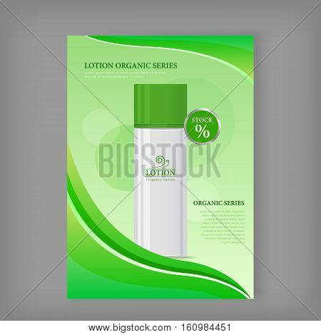 Lotion organic series. Plastic tube for cosmetics on green background. Product for body care, beauty, health, freshness, youth, hygiene. Cream and lotion product. Realistic vector illustration.