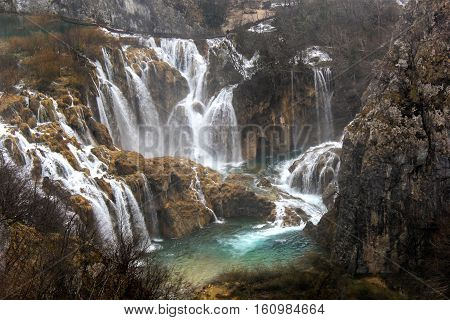 Waterfalls at Plitvice Lakes, a UNESCO World Heritage Site in Croatia