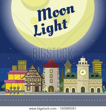 Moon light. Urban city illustration at night time. Building with clock. Architecture in unusual fashionable design. Modern town with extraordinary buildings. Metropolis panorama. Vector in flat style