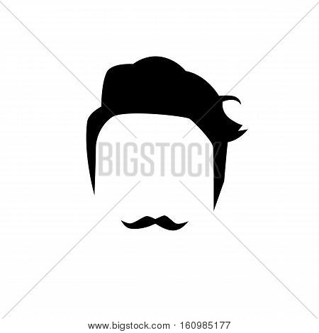 Hipster detailed hair and mustache. Fashion bearded man. Long beard with facial hair. Beard isolated on white background. Vector illustration EPS10