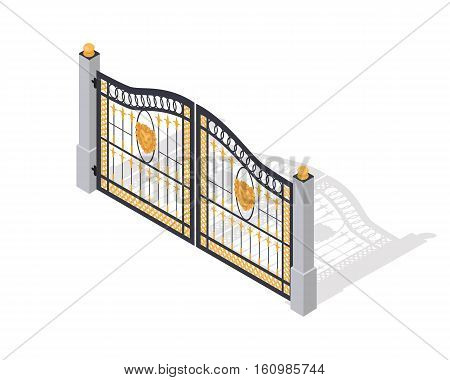 Iron gates opens and closes from the middle isolated on white. Fence with columns. Isometric projection. Metal gates, wrought iron, lattice and golden gates and fences for yard. Flat style. Vector