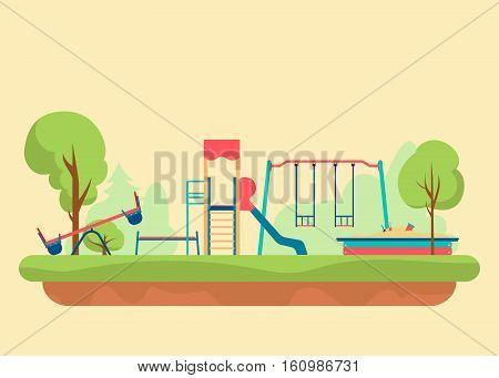 Kids playground flat style. Set of design elements to create urban builder background, Vector illustration eps10.
