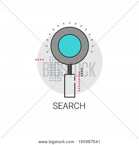 Magnifying Glass Search Digital Content Information Icon Vector Illustration
