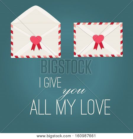 Happy Valentine Day Envelope with Paper Hearts. Vector Illustration love Mail Envelope, Letter paper romantic hearts inside. Can be used for Mothers and Womens Day Greetings. Love mail letter.