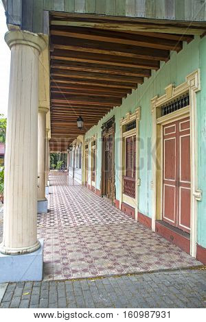 Replica of a hallway, columns and doors at a national park in the city of Guayaquil, Ecuador
