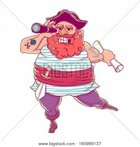 Happy tattooed pirate with a prosthetic, weapons, map and telescope. Cocked hat. Spyglass. Vector illustration isolated on white background