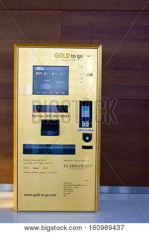 DUBAI, UAE - SEPTEMBER 23 2012: A gold dispensing ATM by Gold to Go installed in the At The Top observatory in Burj Khalifa