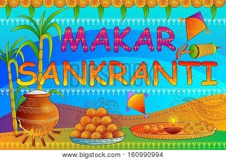vector illustration of Happy Makar Sankranti festival celebration background