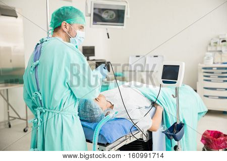 Doctor Performing An Endotracheal Intubation