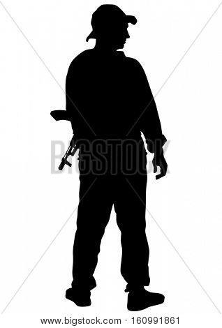 People and guns on a white background