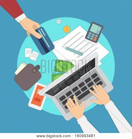mobile payments vector illustration. Overhead. colorful set. eps 10