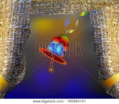 Christmas bell with baggy curtains. Ornamental spectral christmas bell hanging on a golden ribbon from a crystal-textured golden baggy curtains on a orange, gold and blue gradient background
