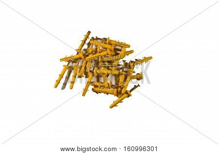 Heap of quick installation dowels isolated on white