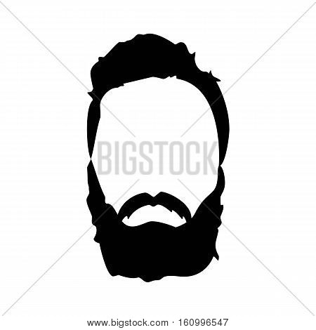 Hipster detailed hat and beards. Fashion bearded man silhouette. Black beard isolated on white background. Vector illustration
