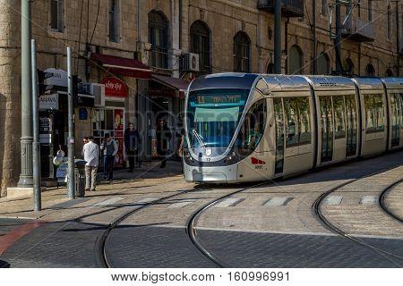 JERUSALEM, ISRAEL - DECEMBER 8: Jerusalem light rail on Jaffa street in Jerusalem, Israel on December 8, 2016