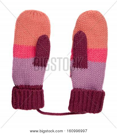 Mitten Isolated On White Background. Knitted Mittens. Mittens Top View.pink Purple Maroon Gloves