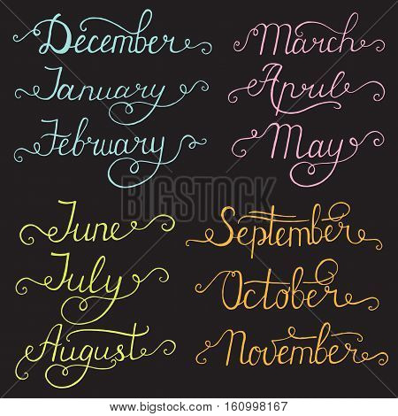 Handwritten months of the year: December January February March April May June July August September October November. Calligraphy words for calendars and organizers.