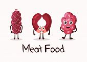Frankfurter sausage and meat roulade cartoon character with smiley faces. Isolated meat and sausage food, kielbasa and weenie for dinner. For cartoon wurst or beef, steakhouse, meat shop banner poster