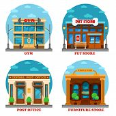 Pet shop and furniture store, post office and gym or gymnasium. Architecture of letter delivery building and animal care shop or store, furniture and sport club building. Shop or store exterior view poster