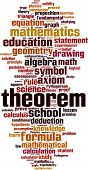 Theorem word cloud concept. Vector illustration on white poster