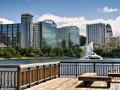 Lake Eola and Orlando skyline with fountain poster
