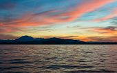 Spectacular sunset over Lake Zug in the Swiss Alps. poster