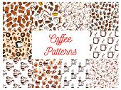 Coffee cups and coffee makers seamless patterns. Background wallpapers with vector icons of vintage coffee mill, turkish cezve, espresso machine, retro coffee grinder, moka pot, macchinetta, milk pack, coffee beans, nut syrup poster