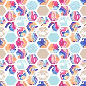 Watercolor hexagon seamless pattern. Abstract marbling geometric background with grunge texture. Abstract geometrical hexagon elements in 80s or 90s. Hand painted illustration in pastel colors poster