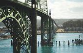 Tilt-shift view of bridge on Oregon Coast in the Pacific Northwest USA. Yaquina Bay Bridge in Newport, Oregon. poster