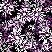 Dark repeating pattern with violet and white flowers (vector EPS 10) poster