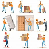 Different Delivery Service Workers And Clients, Smiling Couriers Delivering Food And Equipment From Shop And Mailmen Bringing Packages Set Of Illustrations. Vector Cartoon Characters In Uniform Carrying Carton Boxes With A Smile. poster