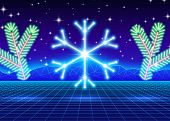 Christmas card with neon snowflake and 80s computer background poster