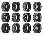 Tire or wheel for truck or bus, automobile tyre. Winter protector isolated or transport wheel icons, tractor tyre with track. Vulcanization or garage, rally sport or tire mount, car maintenance logo poster