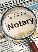 Notary. Newspaper with the Advertisements and Classifieds Ads for Vacancy. Magnifier Over Newspaper with Searching Job of Notary. Hiring Concept. Selective focus. 3D Render. poster