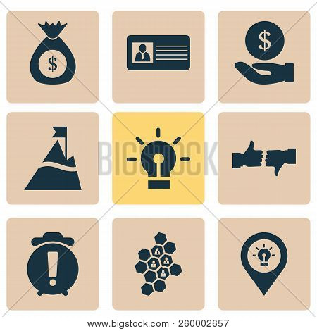Team Icons Set With Id Card, Idea, Team Honeycomb And Other Bulb Elements. Isolated Vector Illustrat