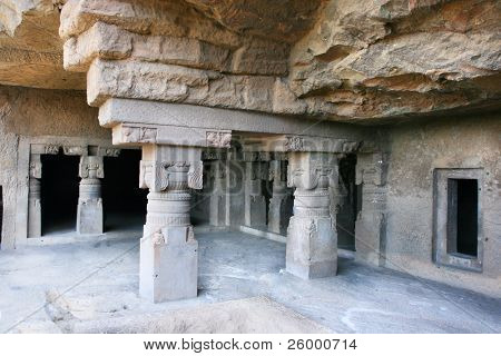 Inside of ancient Ellora rock carved Buddhist temple,   Aurangabad, Maharashtra, India