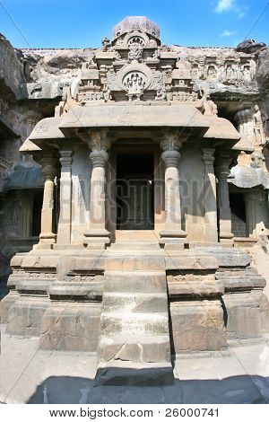 The  Jain Temple (Indra Sabha). Ellora Caves, near Aurangabad, India. 10th - 12th Century AD
