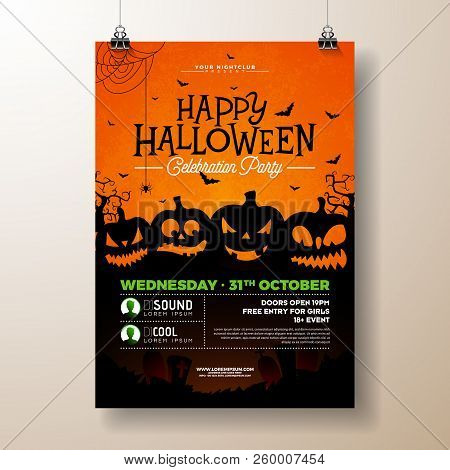 Halloween Party Flyer Vector Illustration With Scary Faced Pumpkins On Orange Background. Holiday De