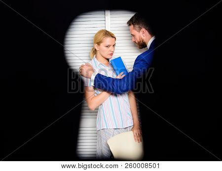 If you are witness of rights violation. View through keyhole. Woman suffer from violence in office. Worker lady suspected in rights violation. Boss aggressive threatening. Witness of crime in office poster