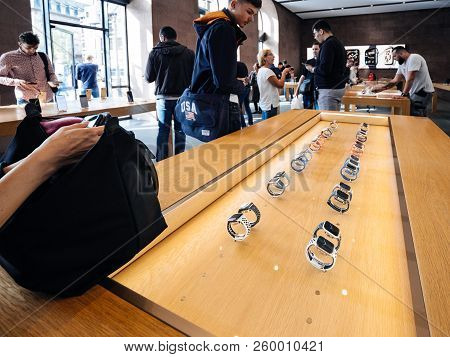 Strasbourg, France - Sep 21, 2018: Apple Store With Customers People Buying Admiring The New Latest