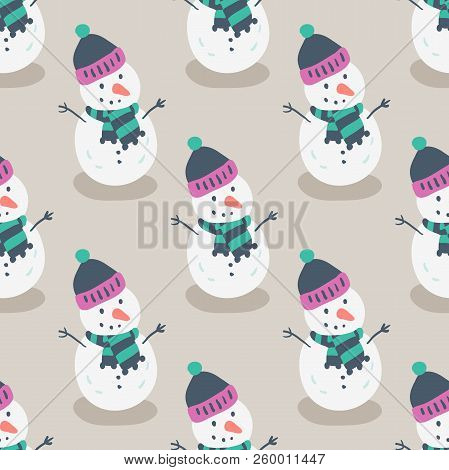 Christmas Seamless Pattern With Cartoon New Year Characters. Snowman Pattern. Collection Of Xmas Ele