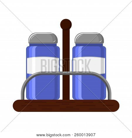 Set For Kitchen Glass Saltcellar And Pepper With Metal Covers On A Wooden Stand
