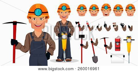 Miner Man, Mining Worker. Handsome Cartoon Character. Set Of Equipment, Tools And Emotions. Build Yo