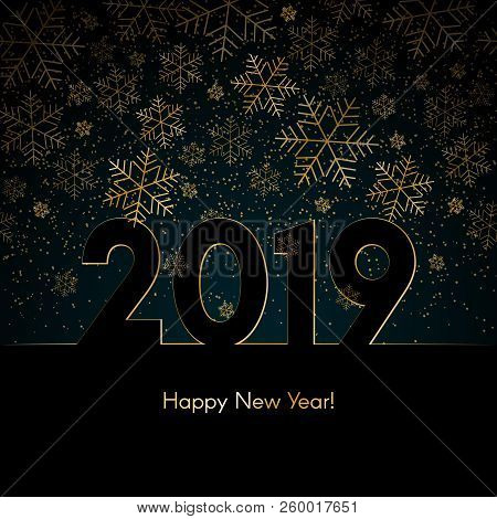 christmas new year background with gold snowflakes text 2019 happy new year blue winter background c