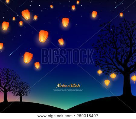 Landscape With Trees And Lanterns Floating At Night. Starry Sky With Meteors. Vector Illustration. T