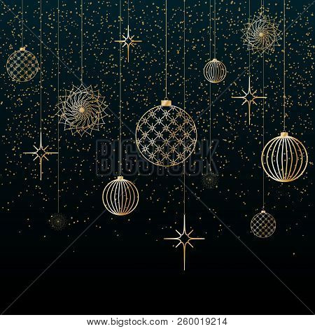 Christmas Background Gold Balls Toys Stars Snowflakes Glitter On A Blue Background Festive Backgroun