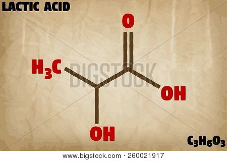 Detailed Infographic Illustration Of The Molecule Of Lactic Acid